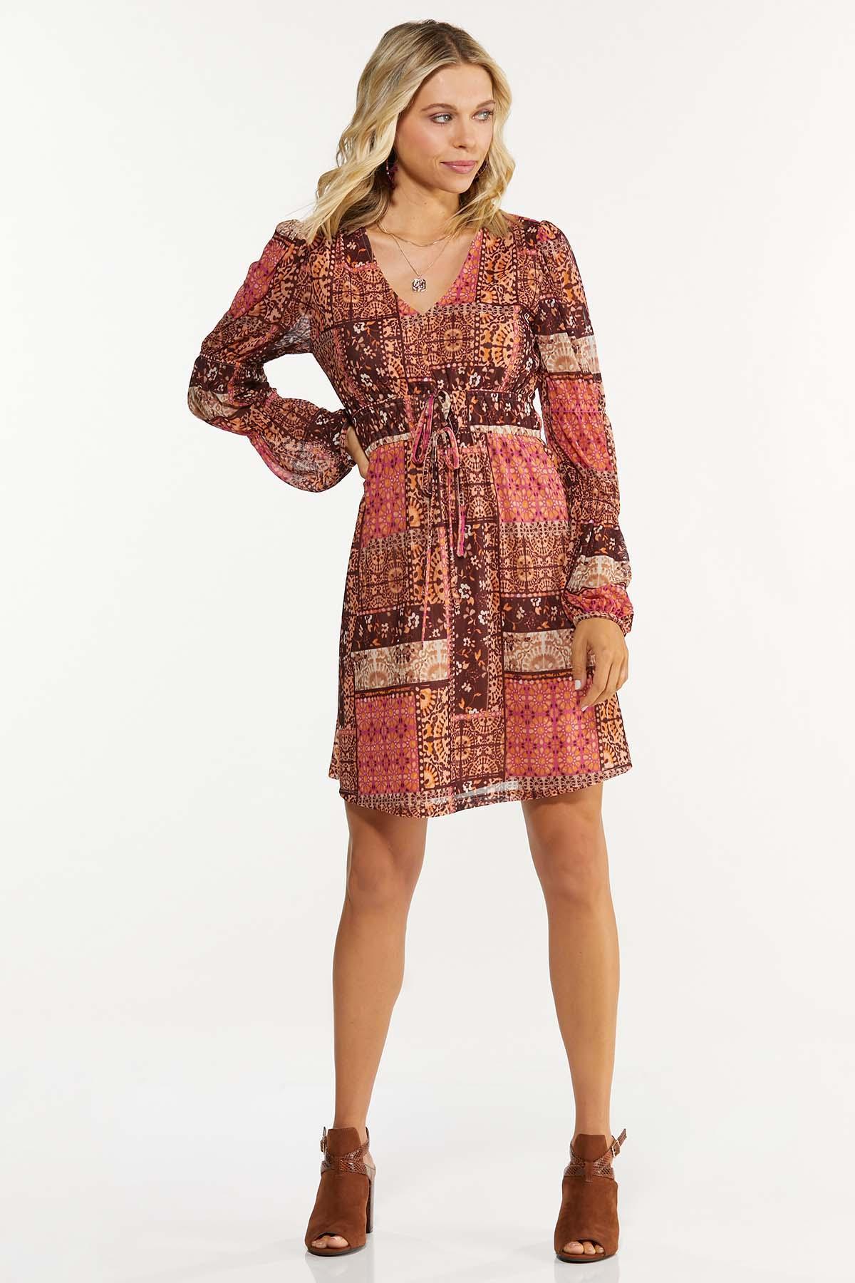 Plus Size Patchwork Medallion Babydoll Dress