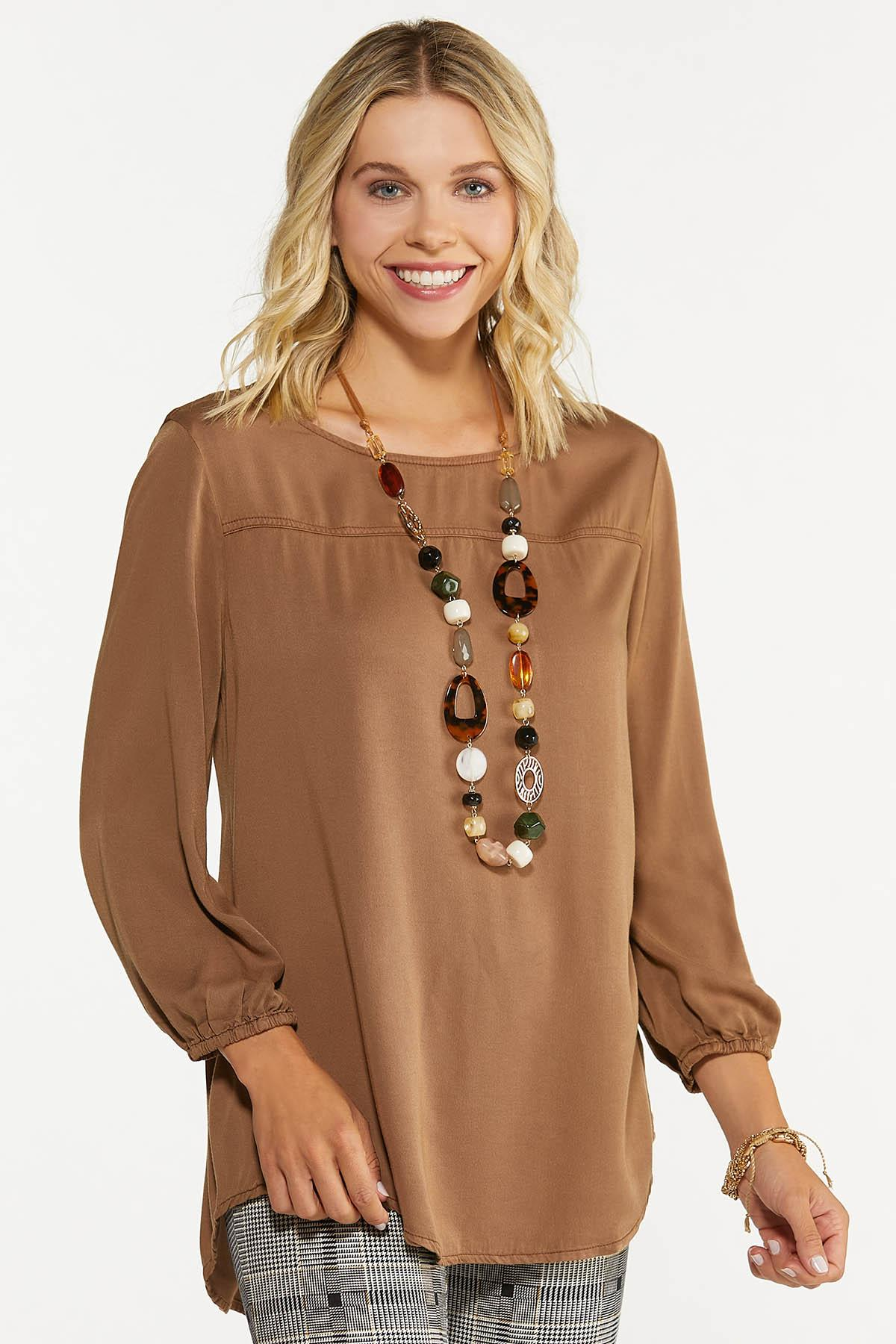 Plus Size Solid Button Back Top