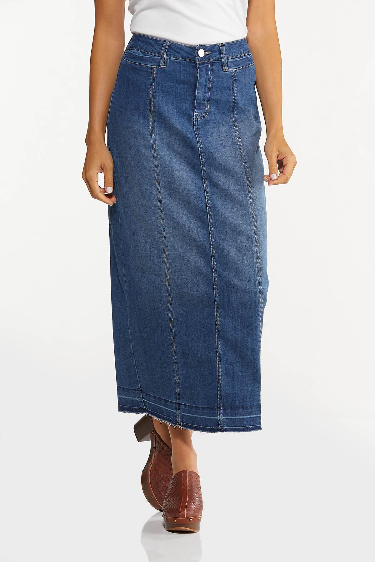 Frayed Denim Maxi Skirt