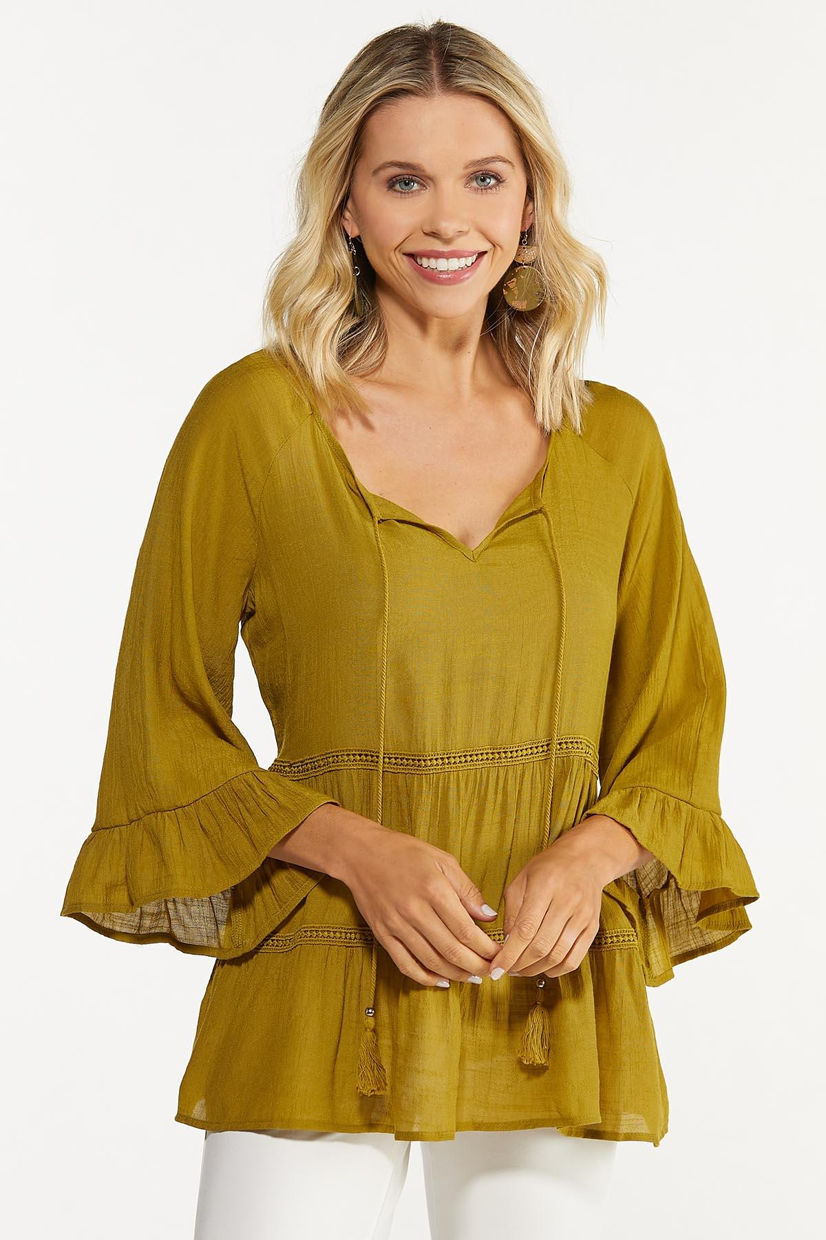 Plus Size Olive Tiered Poet Top