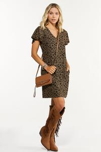 Plus Size Leopard Flutter Sleeve Dress