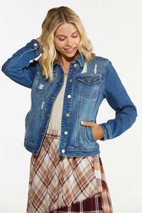 Plus Size Distressed Denim Jacket