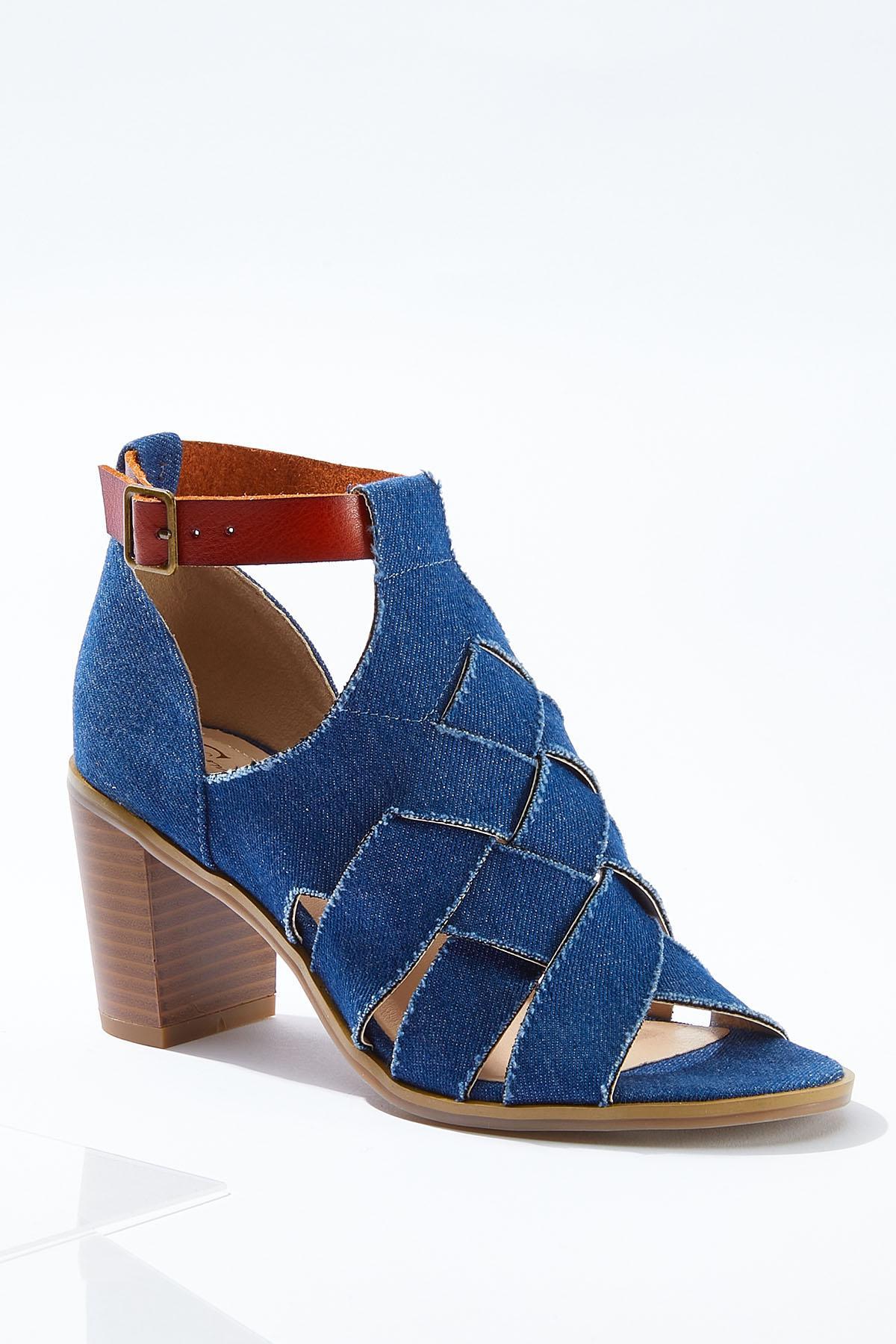 Denim Woven Block Heels