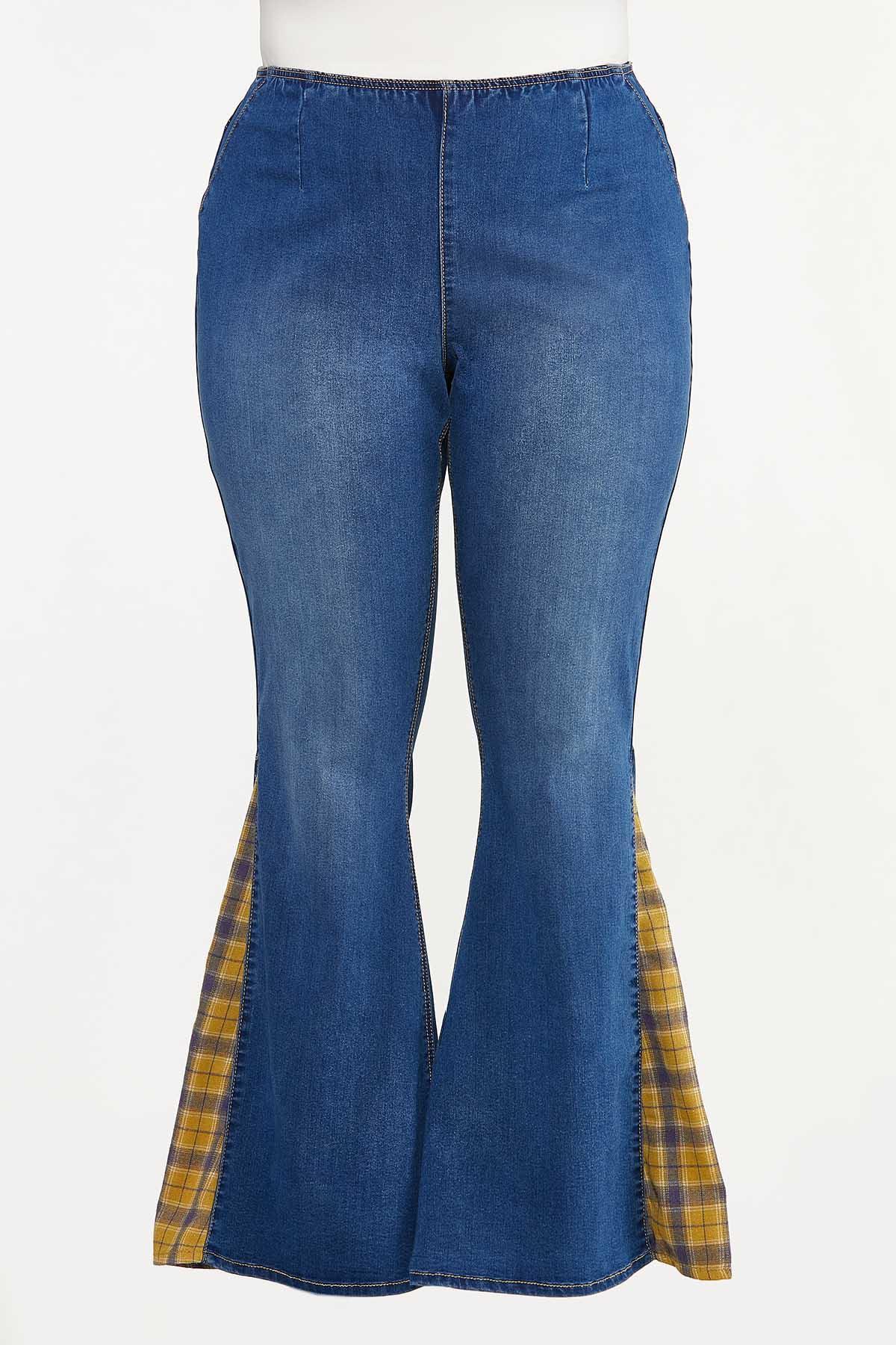 Plus Size Plaid Inset Flare Jeans