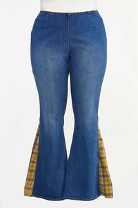 Plus Petite Plaid Inset Flare Jeans