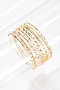 Dainty Gold Bangle Bracelet Set