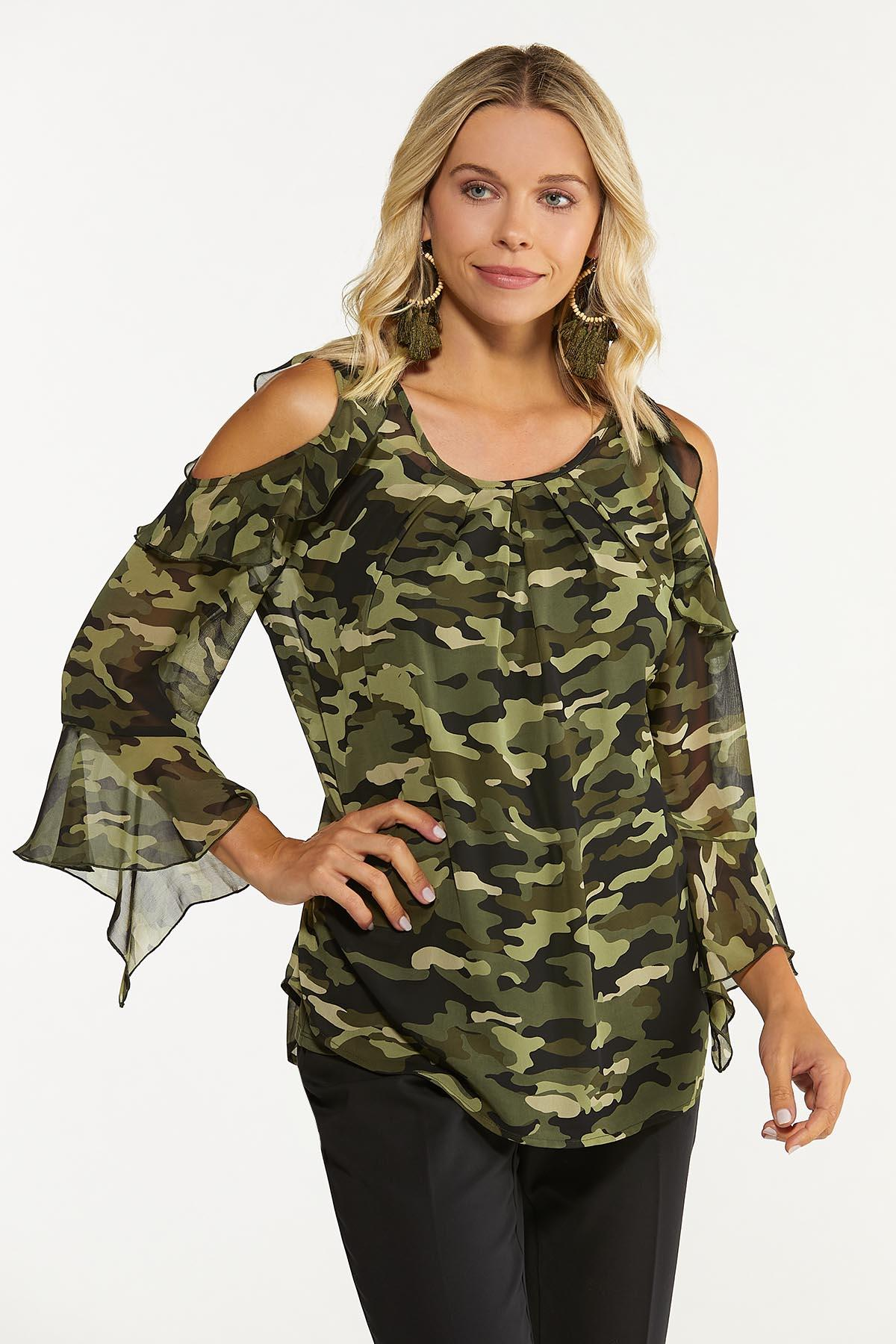 Plus Size Ruffled Camo Cold Shoulder Top