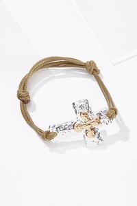 Hammered Cross Pull-String Bracelet