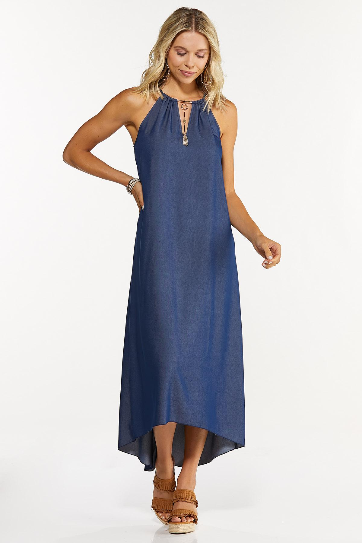 Embellished Chambray High-Low Dress