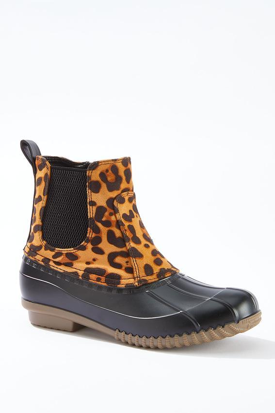 Leopard Panel Duck Boots