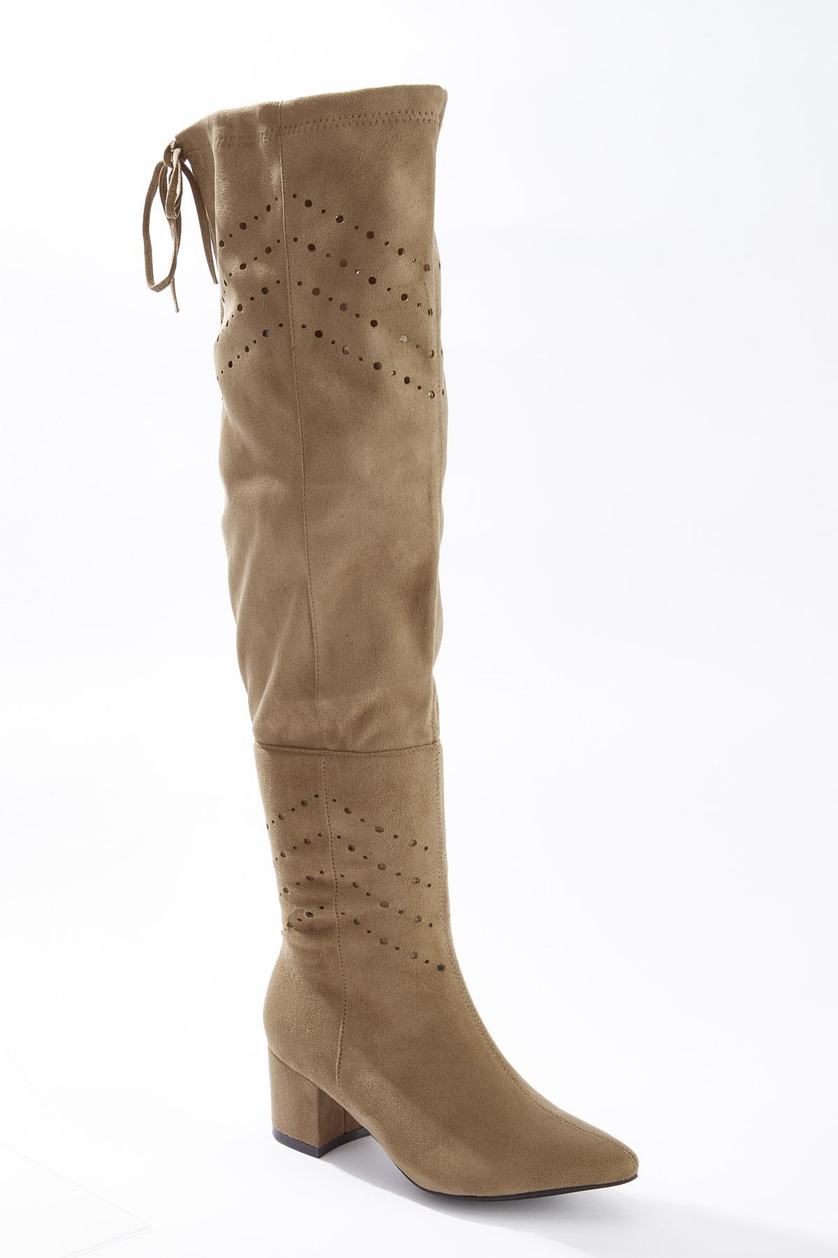 Laser Cut Over The Knee Boots