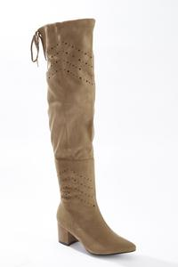 Wide Width Laser Cut Over The Knee Boots
