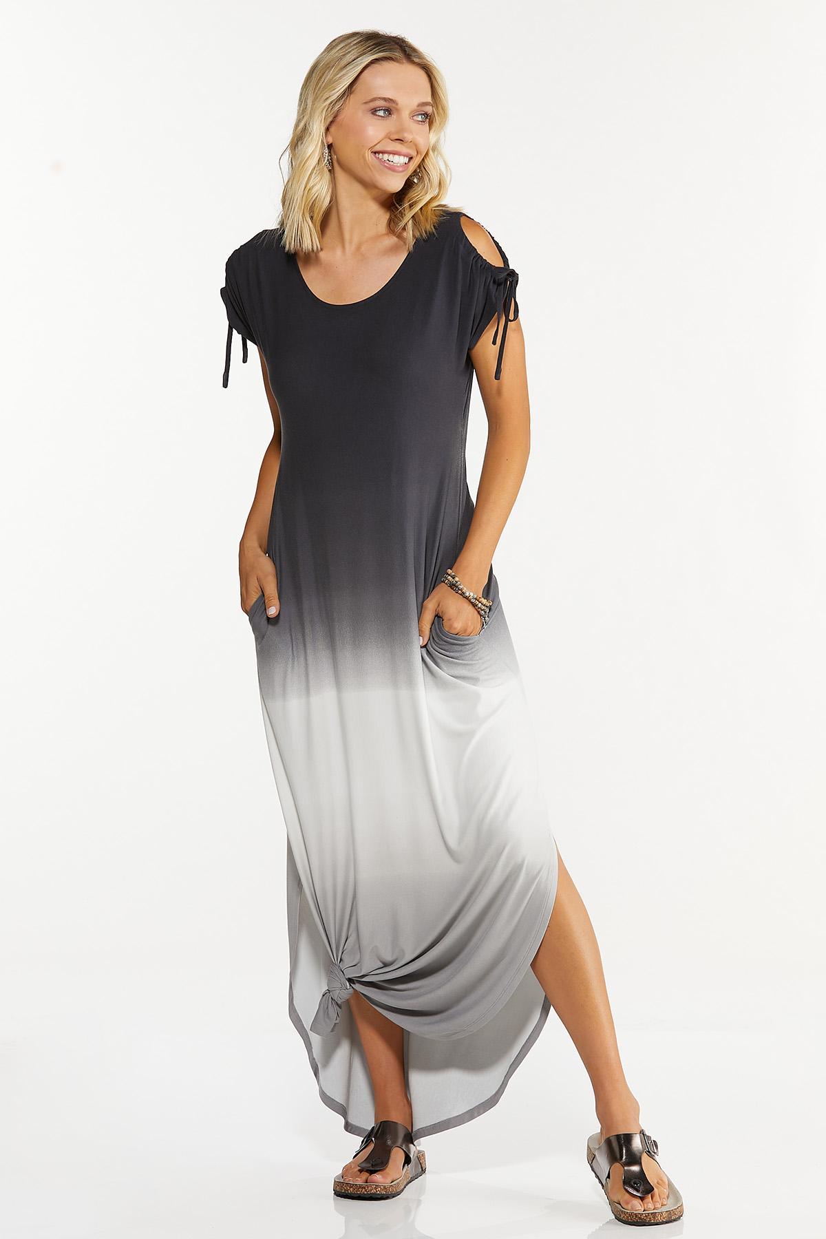 Tie Dye Cold Shoulder Dress