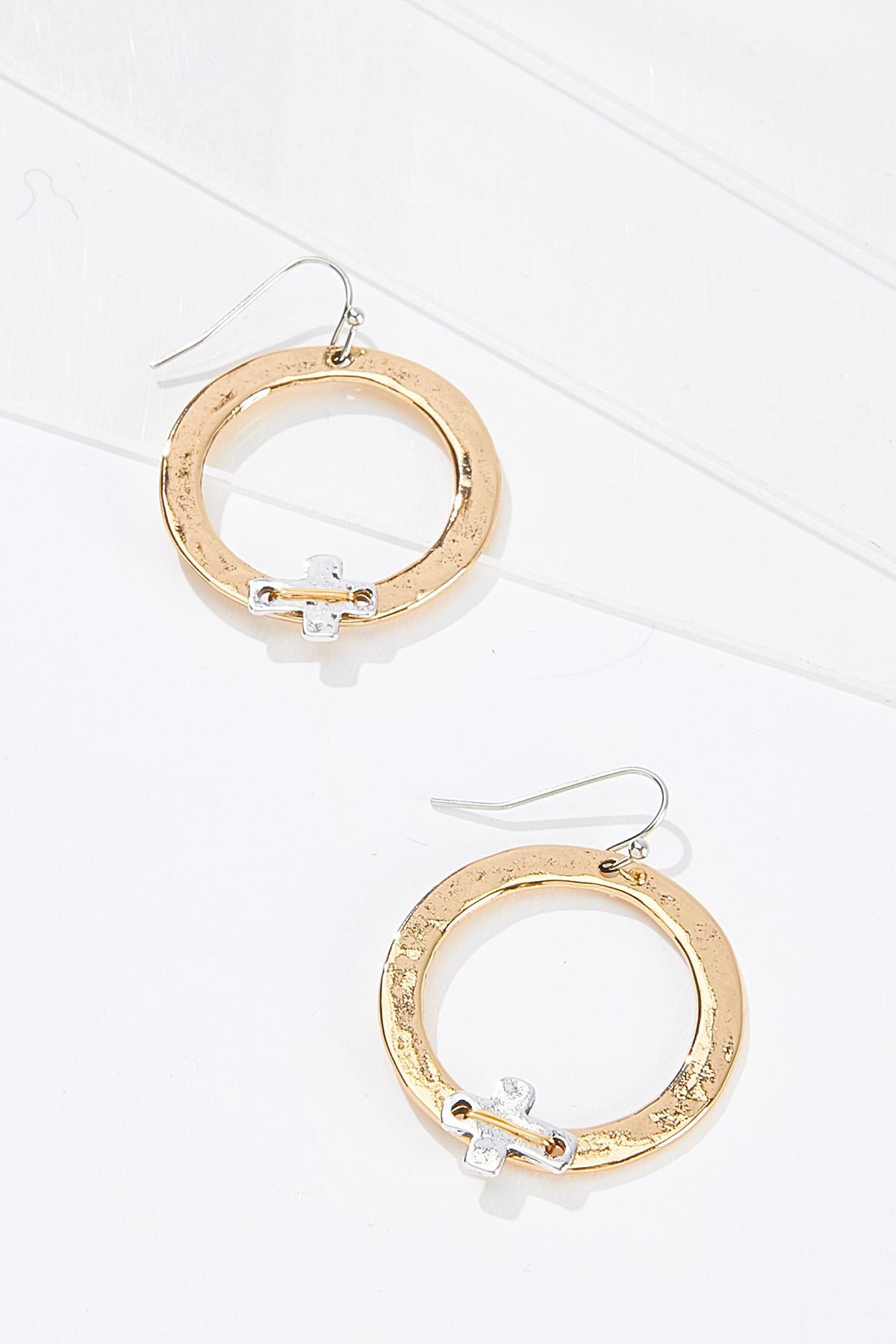 Wire Cross Circle Earrings