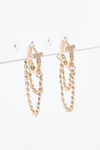 Huggie Chain Front Back Earrings