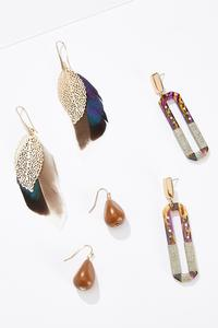 Mixed Material Statement Earrings