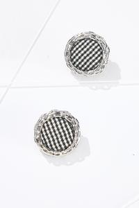 Houndstooth Button Earrings