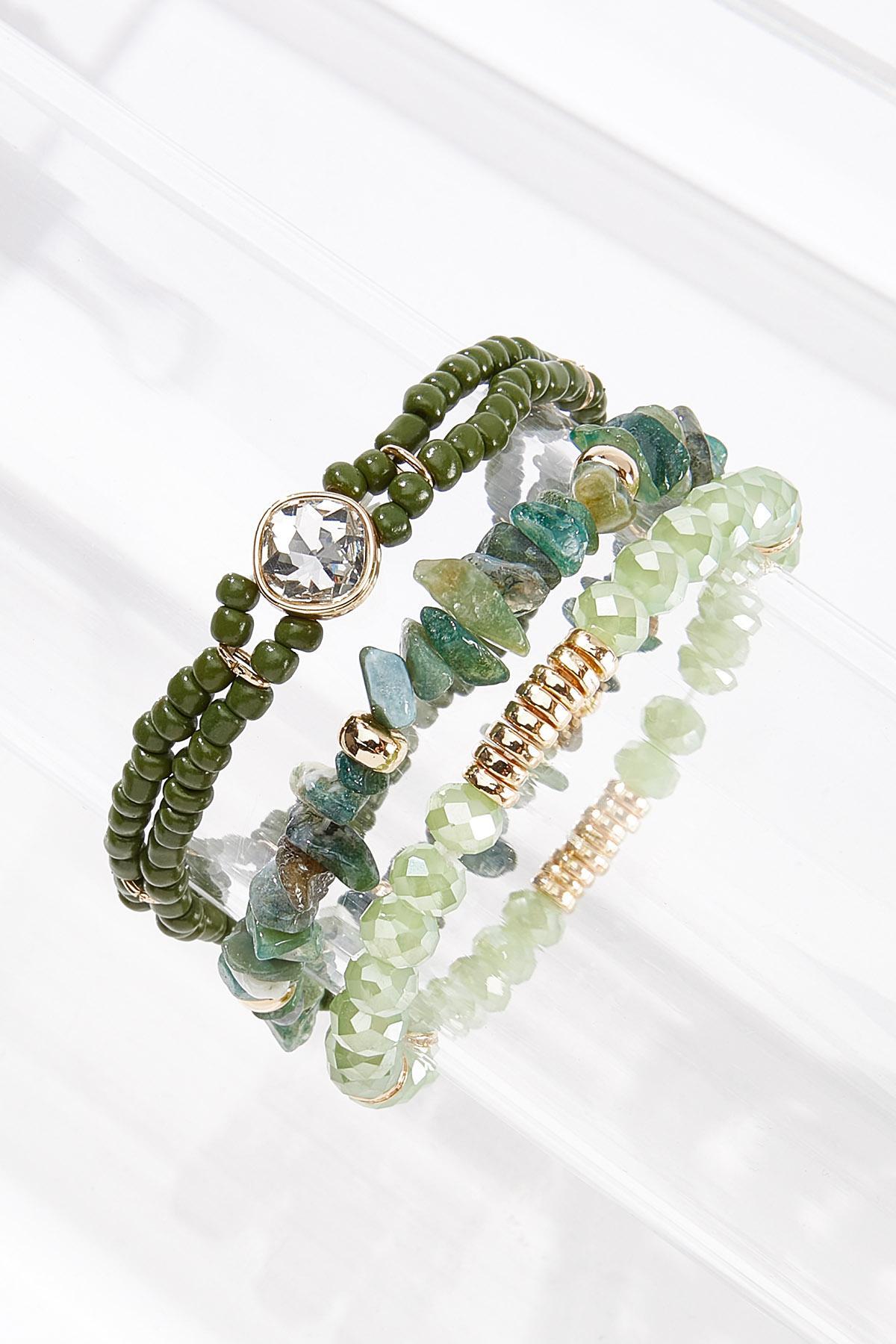 Olive Mixed Stone Bracelet Set