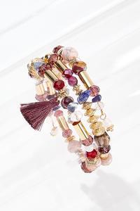 Beaded Wine Tassel Coil Bracelet