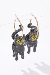 Black Cat Hoop Earrings