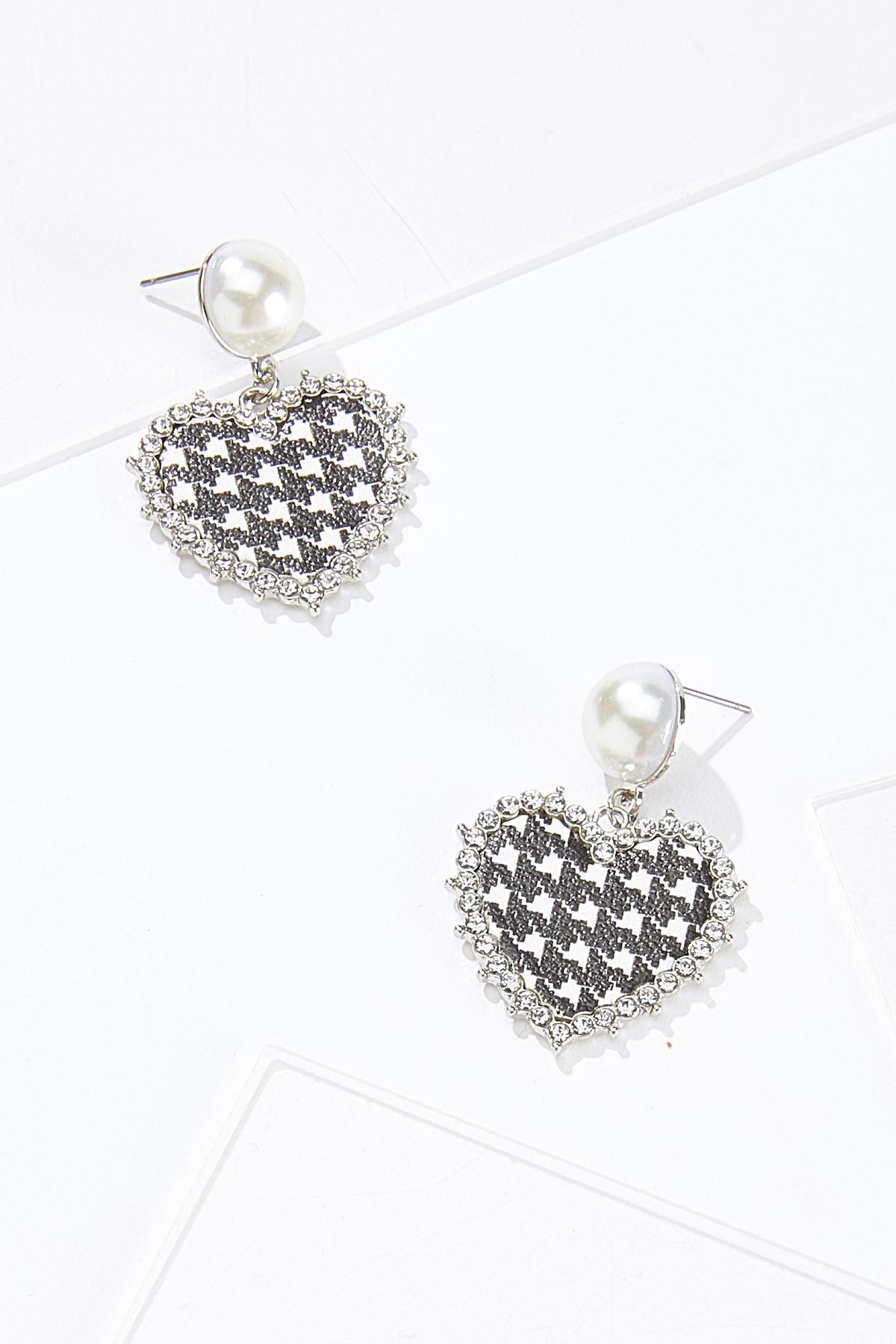 Houndstooth Pearl Heart Earrings
