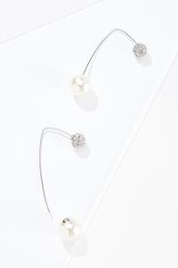 Pave Pearl Threader Earrings