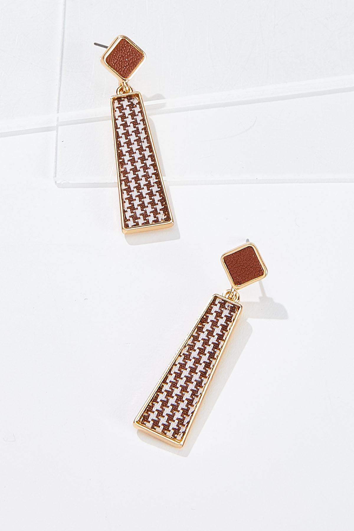 Brown Houndstooth Earrings