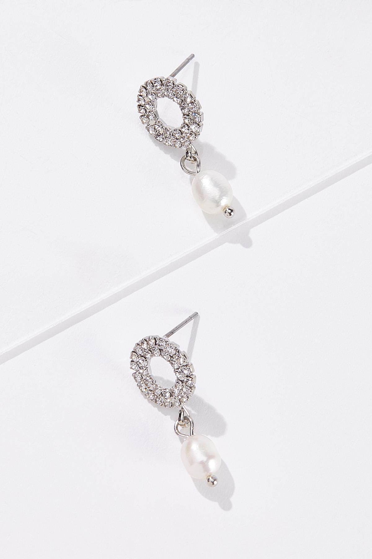 Rhinestone Pearl Earrings