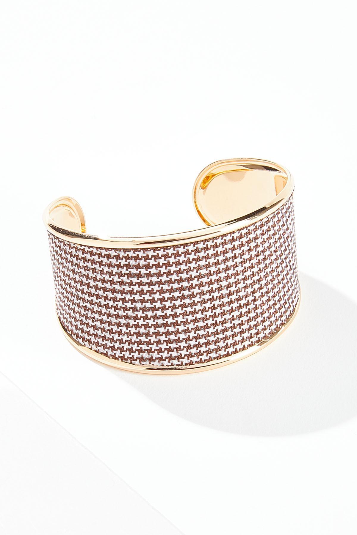 Brown Houndstooth Cuff Bracelet