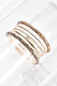 XL Gold Snake Bangle Bracelet Set