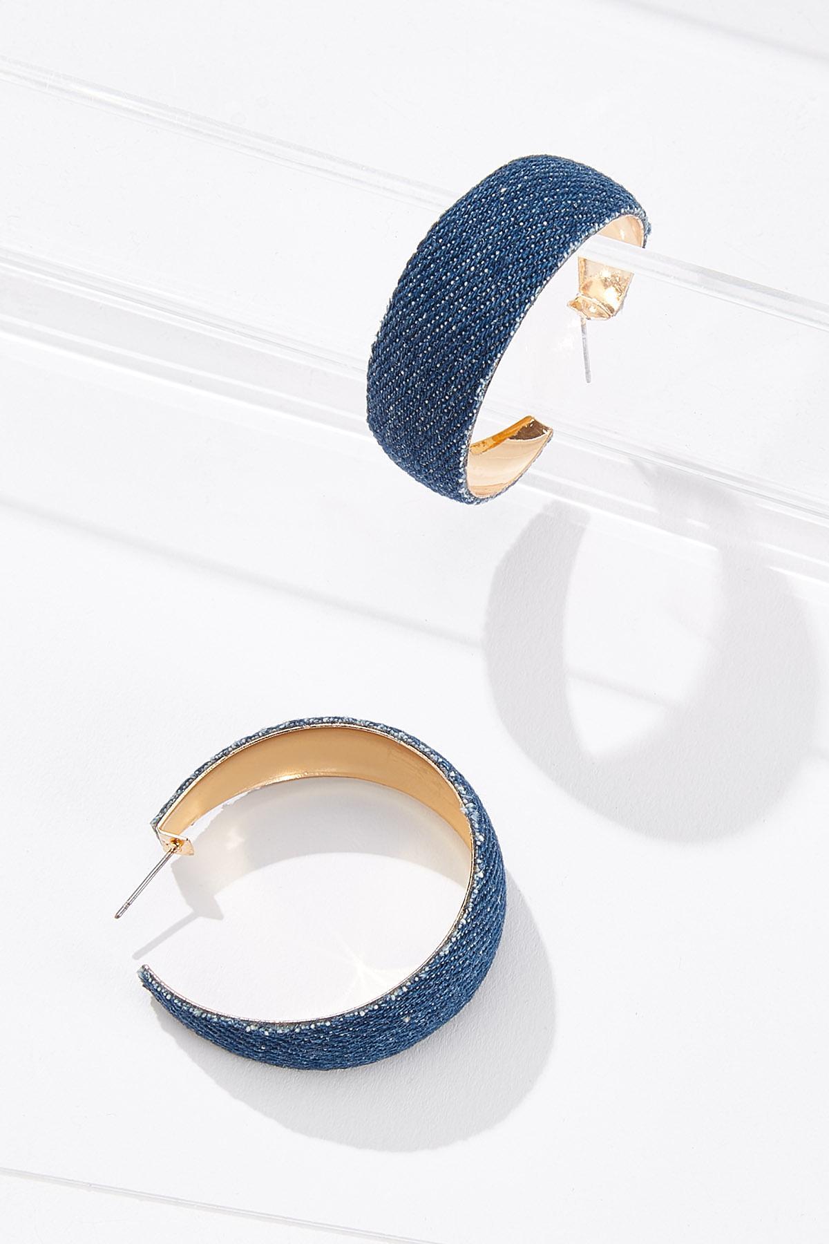 Denim Hoop Earrings