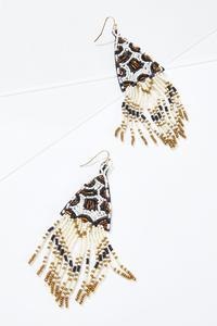 Beaded Fringe Leopard Earrings
