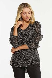 Plus Size Ruffled Scattered Hearts Top