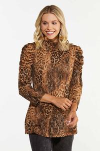 Leopard Puff Sleeve Top