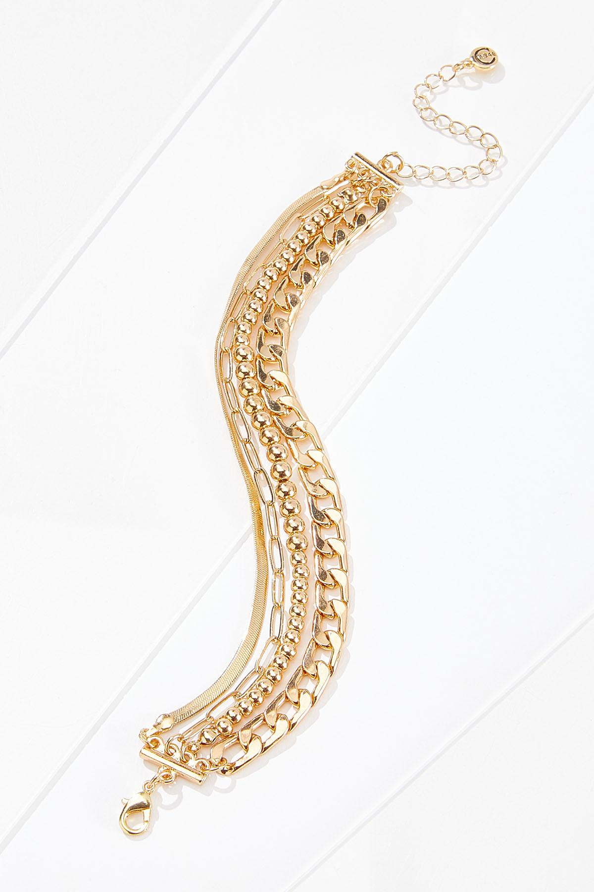 Mixed Gold Chain Bracelet