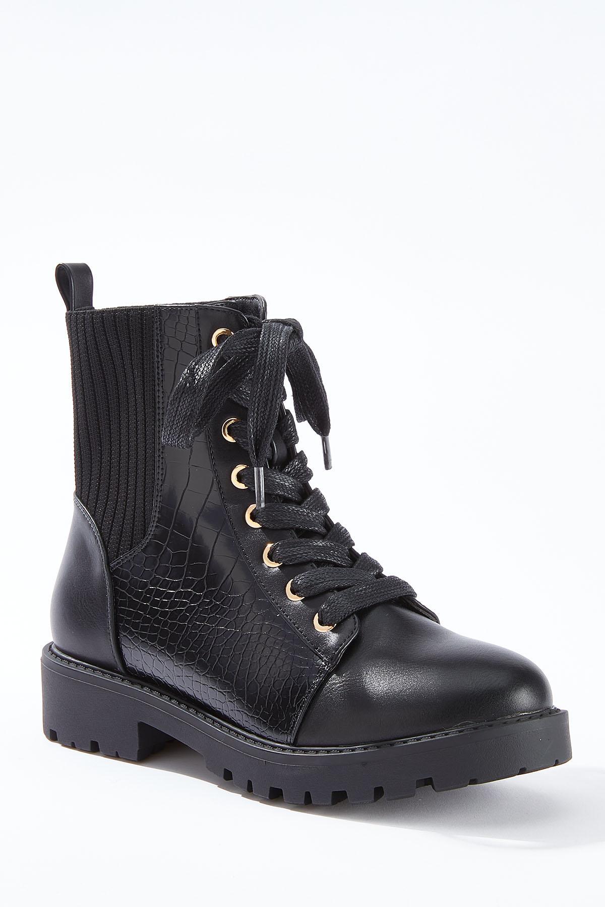 Wide Width Black Combat Boots