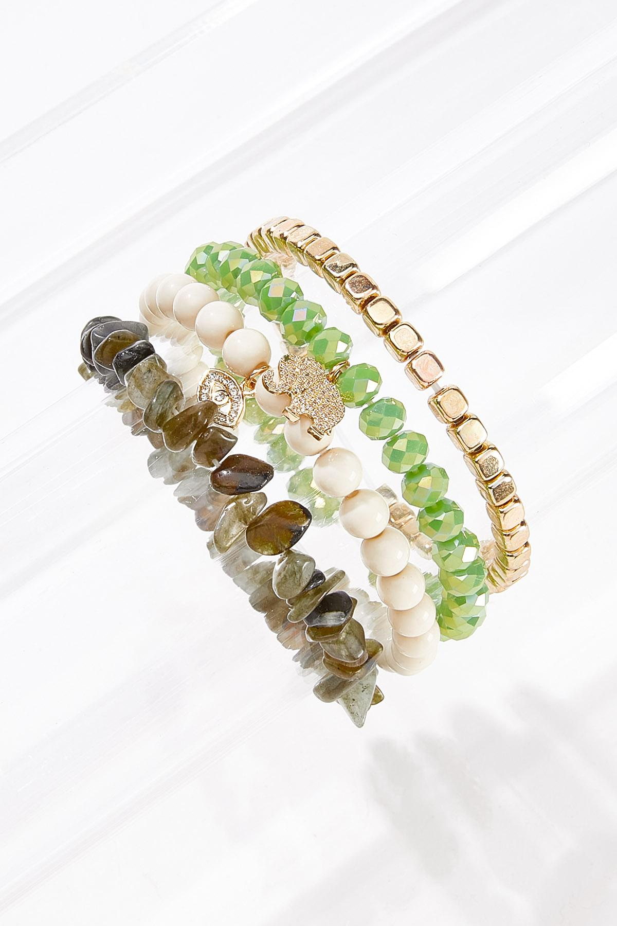 Mixed Stone Charm Bracelet Set