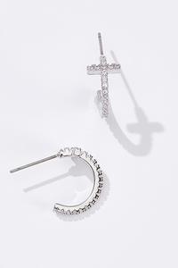 Rhinestone Cross Loop Earrings