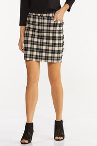 Neutral Plaid Mini Skirt