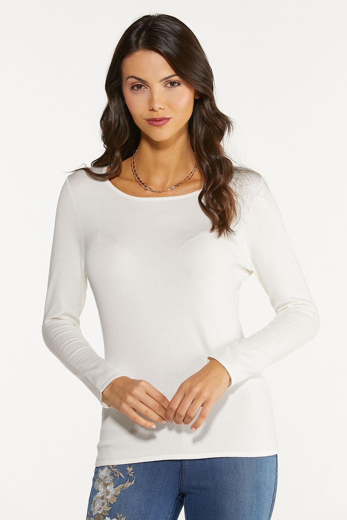 Plus Size Solid Scoop Neck Sweater