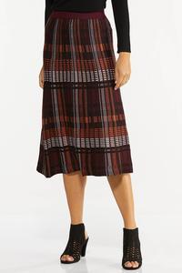 Plus Size Plaid Sweater Midi Skirt