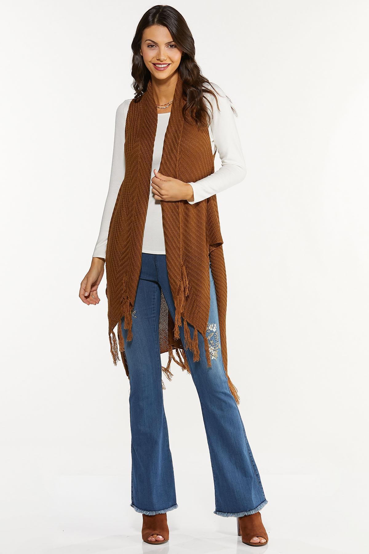 Fringed Sleeveless Cardigan Sweater