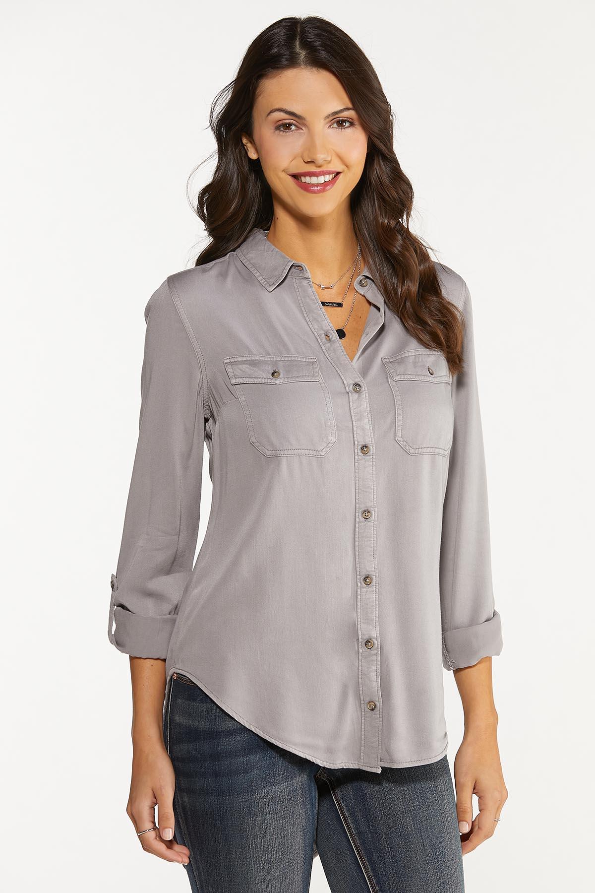 Faded Wash Button Down Shirt