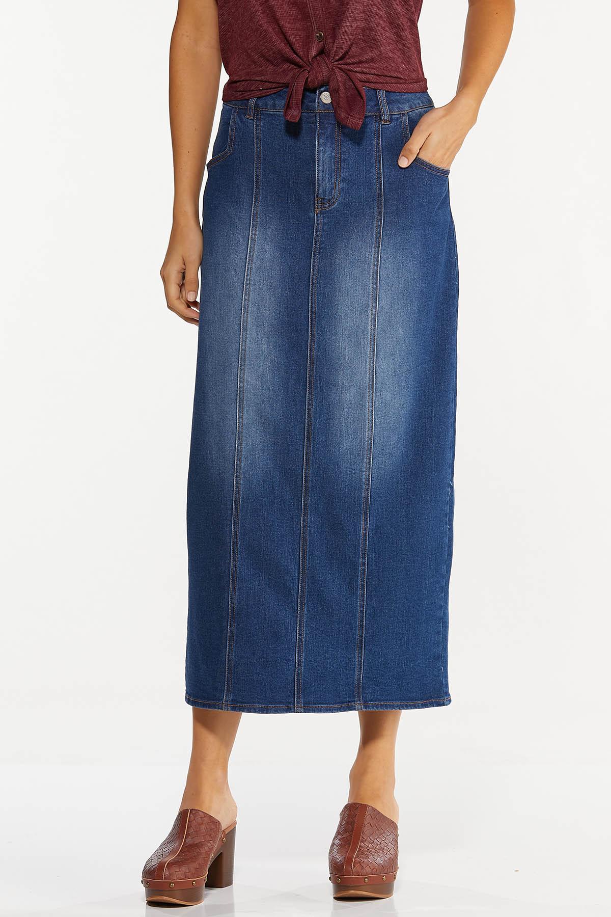 Denim Seamed Maxi Skirt