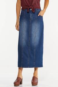 Plus Size Denim Seamed Maxi Skirt