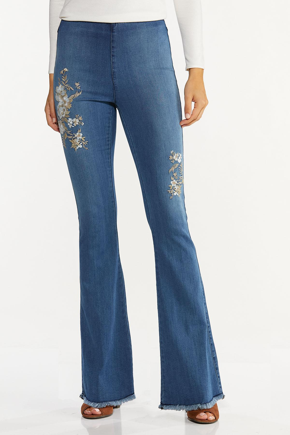 Petite Floral Embroidered Flare Jeans