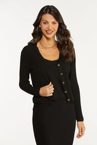 Ribbed Button Front Sweater