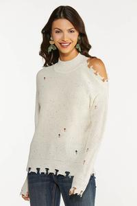 Plus Size Distressed Cold Shoulder Sweater