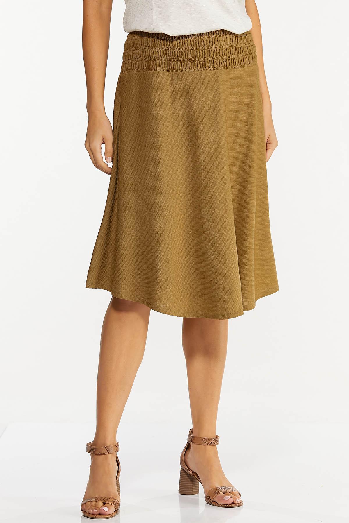 Plus Size Smocked Waist Olive Midi Skirt