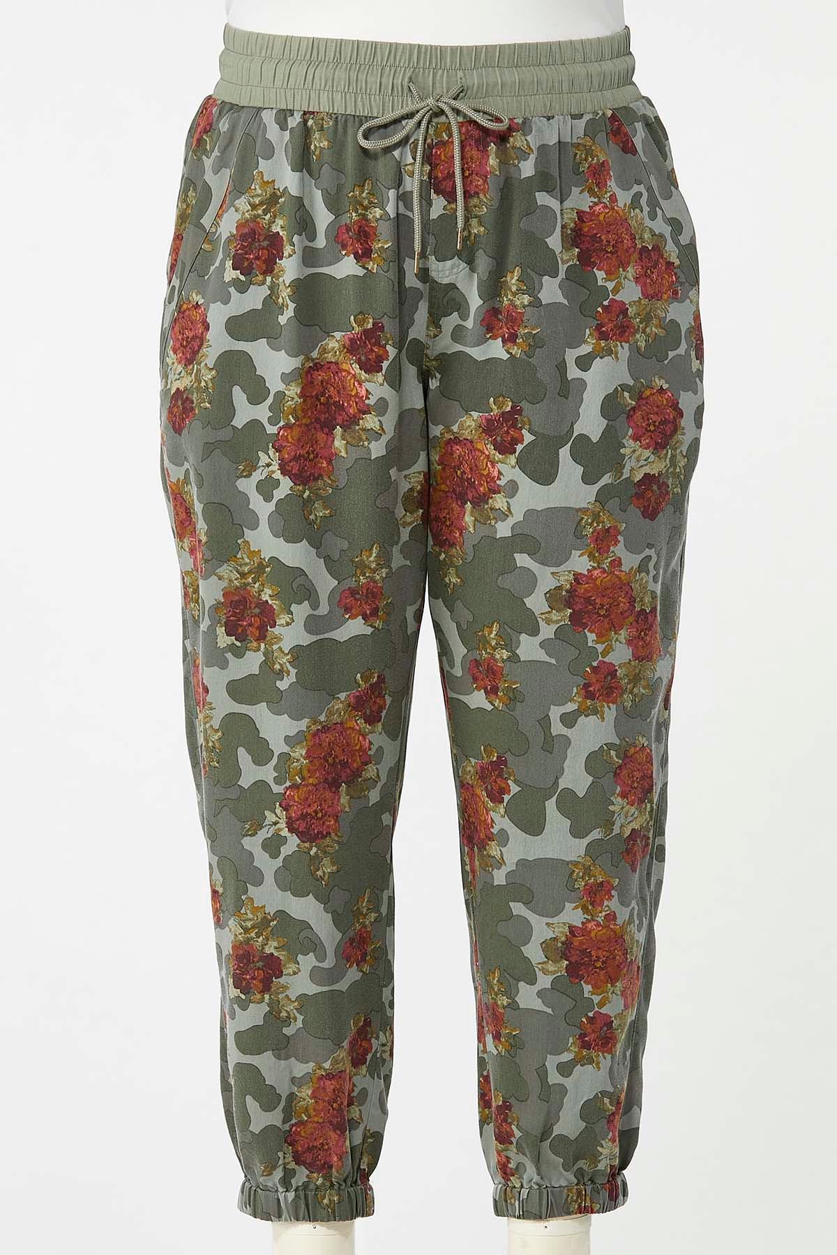 Plus Size Camo Floral Joggers